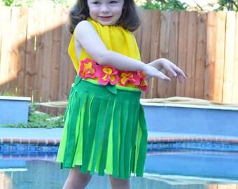 Baby Costume Hula Girl Costume Hawaii Hawaian Girls Costume Toddler Girl Costume Womens Costume Luau Baby GIrl Halloween Costume Grass Skirt