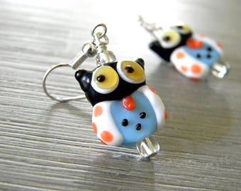 Owl Lampwork Glass Earrings Dangle Earrings