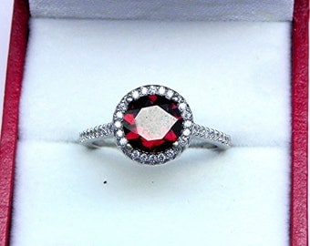 AAAA Red Garnet  7.00mm  1.86 Carats   14K white gold Halo ring with .30 carats of diamonds 0911