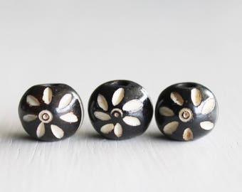 15 Dark Brown White Flower Hand Carved Bone Beads 11mm Round