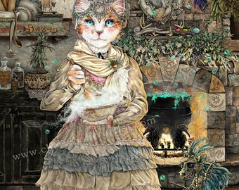 Kitchen Magic - Kitchen Witch - Dragon Art Print - Wicca Art - Cat Art Print - Witch Art - Cat Artwork - Cat Lover Gift - Cat Witch