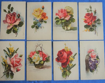 Lot of 8 Tuck Flowers Water Color Art Most Signed Klein Antique Divided Back Postcards