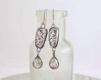 Moss Amethyst and Rutilated Quartz Dangle Earrings     Modern Drops