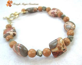 Brown Stone Bracelet, Safari Jasper, Fools Gold Iron Pyrite, African Animal Print Beaded, Genuine Gemstone Jewelry, Brass Toggle Clasp B547