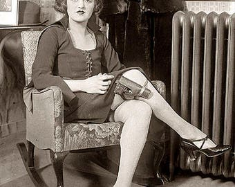 Woman With Gun In Leg Holster 1920s Photo