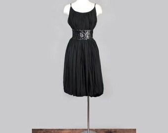 1960's Black Silk Chiffon Vintage Evening Dress - Audrey Hepburn Style Little Black Dress, Sequins, Medium