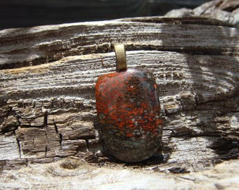 Hand Polished Fossilized Dinosaur Bone Pendant OOAK