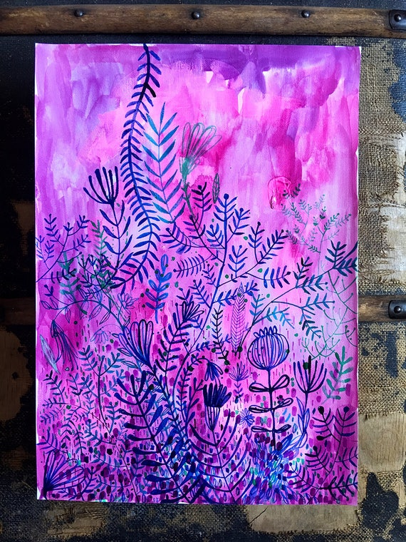 Original acrylic and ink painting on paper Lavender Patterns artwork by Paula Mills