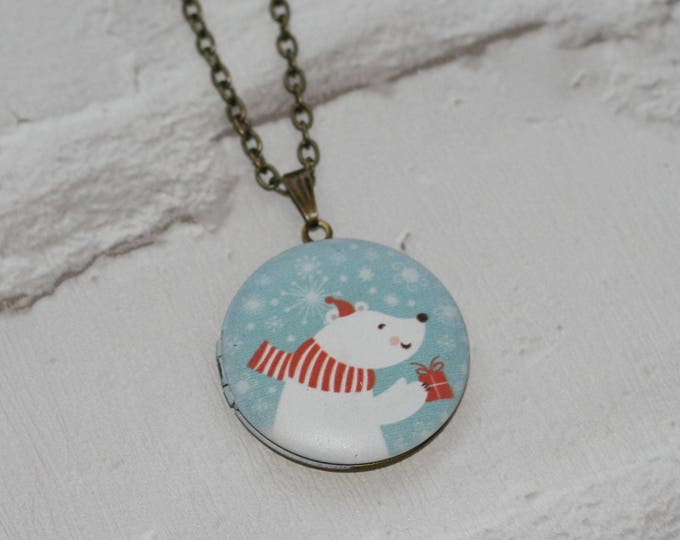 Christmas Locket Necklace, Polar Bear Necklace, Woodland Jewelry