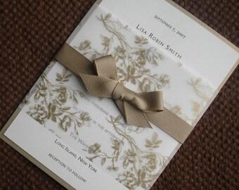 Rustic Romantic Wedding Invitation, Elegant Floral wedding Invitation, Gold wedding Invitations, Formal wedding invitation, vellum invites