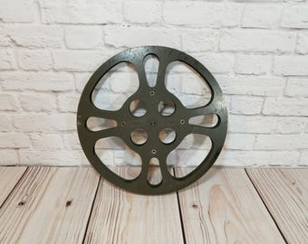 Vintage Grey Metal Industrial Film Reel