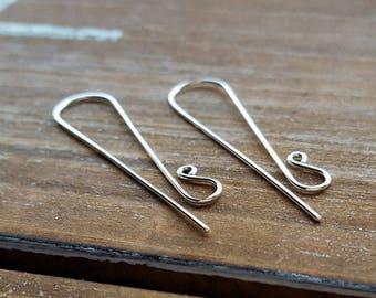 Sterling Silver Earring Wires, Interchangeable Ear Wire Findings, Super Long Slenders - Artisan Earwire Findings
