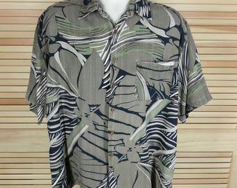 Bill Blass Hawaiian silk print shirt tropical short sleeves button front size L large chest 48