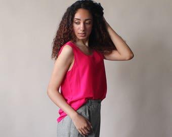 hot pink silk tank top | silk sleeveless top 1990s small - medium