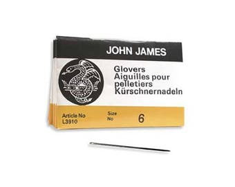 John James Glovers Needles Size 6 43602 Size 6 Leather Needles, Glovers Bulk Pack Needle, Craft Needles, John James Needle L3910