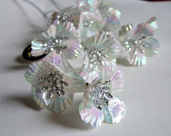 Kitsch Iridescent Plastic Flowers for Crafts or Display - Two Stems of Vintage Plastic Flowers Ideal for Christmas Crafting