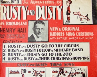 1937 Rusty and Dusty Illustrated Sheet Music - 1930s Henry Hall Vintage Sheet Music with Cartoon Comic Strip About a Boy and His Dog