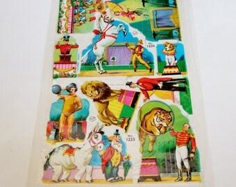 Vintage Circus Paper Scraps - Ringmaster, Clown, Strongman, Horse, Lion - Mamelok Press Scrap Sheet in Original Package