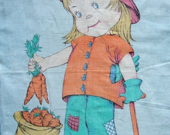 Cute Girl Tea Towel - Kitsch Vintage 1970s Mabel Lucie Atwell Style Girl Doing the Gardening