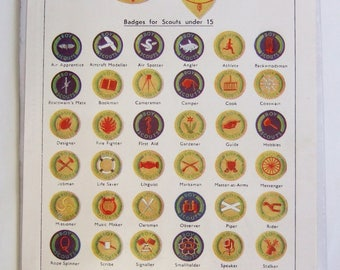 Vintage Scout Badges Print - 'Badges to be Earned by Boy Scouts' - 1930s Bookplate, Ideal for Framing