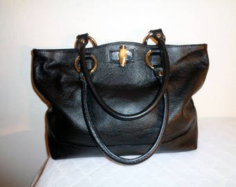 Claudia Firenze Italian buttery soft pebbled leather  XL tote satchel handbag  shoulder bag black vintage, gorgeous