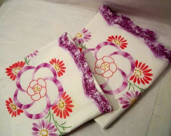 Pillow Cases, Two hand embroidered with hand made lace, guess pillow cases, Linen pillowcases