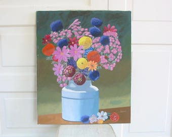 Vintage Floral Painting, Flowers Painting, Oil on Canvas Painting, Shabby Cottage Chic Flowers, Floral Oil on Canvas, Floral Oil Painting