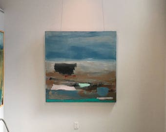 Large Abstract Desert Landscape, Original house mixed media painting on canvas