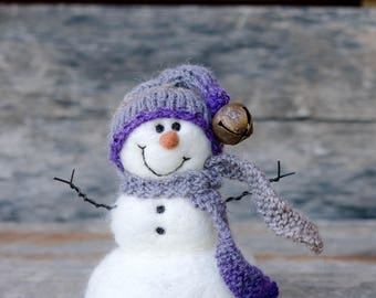 Needle Felt Snowman - Needle Felted Snowman - Christmas Snowman - Christmas Decoration - Christmas Decor -  Wool Snowman - Winter Décor -852