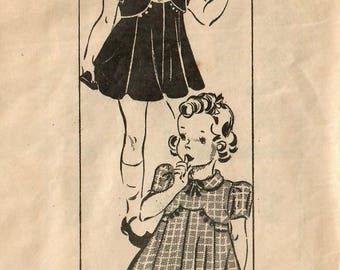 1930s Mail Order 9112 Vintage Sewing Pattern Toddler Girl's Party Dress and Bolero Size 2