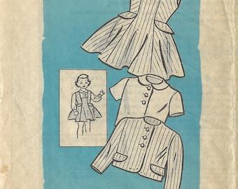 1950s Anne Adams 4621 Vintage Sewing Pattern Girls Jumper, Blouse, Jacket Size 4