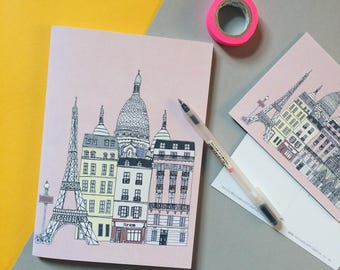 Paris Notebook - A5 Recycled Notebook - Paris Skyline Print - Travel Journal - Paris Gift - Gift for Her