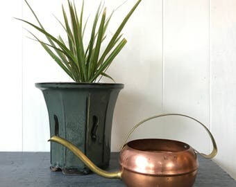 vintage copper watering can with brass handle and spout - small metal watering pot - French country boho