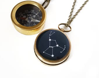 Orion Constellation Necklace, Working Compass, Brass Chain, Orion Jewelry, Constellation Jewelry, Orion Necklace, Holiday Gift, Astronomy