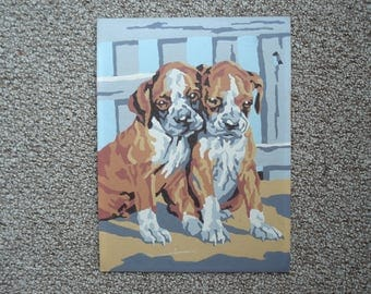 Adorable boxer puppies - Vintage paint-by-number picture