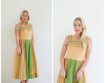 1950s Lime & Peach Sundress /// Size Medium