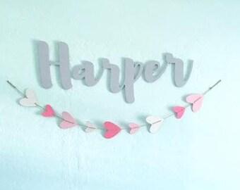 "Custom Name Wall Hangings, Nursery, Custom Words, Home Words, Wooden Name Sign 8"" - 16"" Tall, Baby Name, Wedding Name, Decor"
