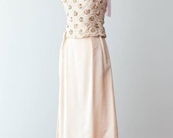Vintage 1960s Dress - Two Piece, Floor Length, 60s Beige Shantung Evening Gown, Wedding Dress w/ Bold Beaded Bodice // Waist 27