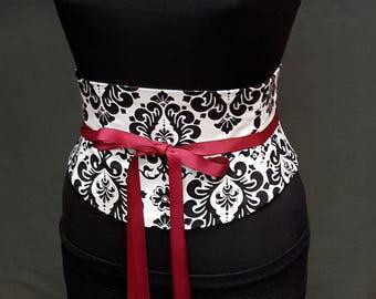 Black and White Damask Cotton Corset Waist Cincher Belt Custom Sized