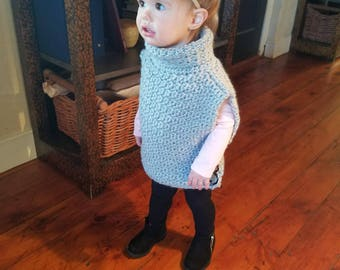 Aura Pullover in Grey with Elephant Buttons for 6 to 12 months - Ready to Ship FREE in the US