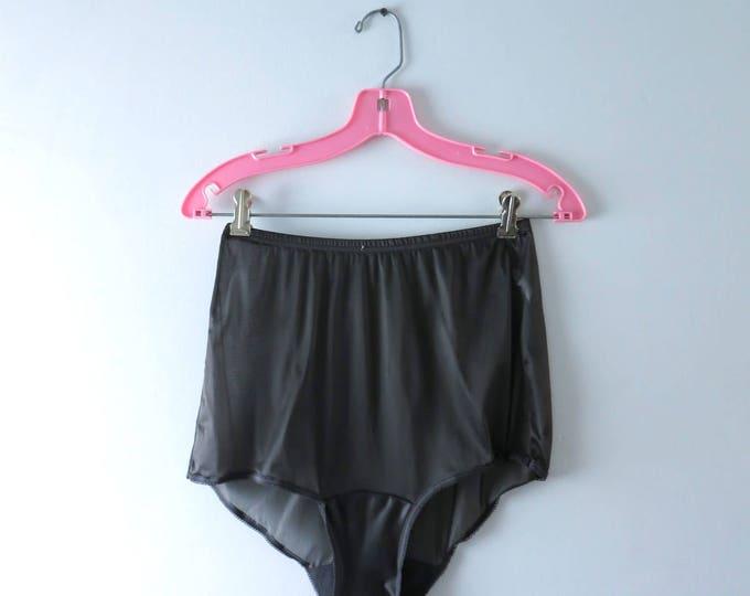 Vintage Nylon Panties | Vanity Fair Semi Sheer Black Nylon Panties Size 6 | Black Sissy Panties Tricot Nylon