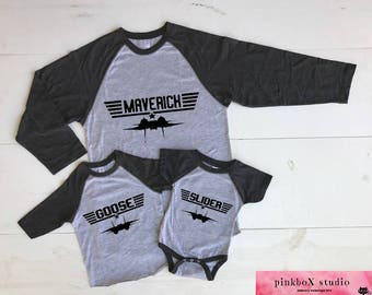 Top Gun Matching Baseball shirts. You choose Unisex Adult CHARCOAL 3/4 length sleeve Toddler Baseball sleeve or Baby bodysuit. Maverick