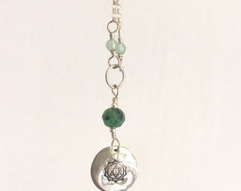 Heart Chakra Coin Necklace with Ruby Zoisite