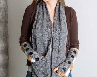 Knit Pocket Scarf Gray Winter Scarf Grey Winter Accessory Gifts for Her Owl Scarf Textured Scarf Knit Scarf