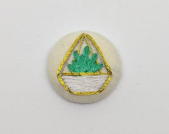Gold and White Terrarium Button Embroidery with Green Succulent Plant Aloe Zebra