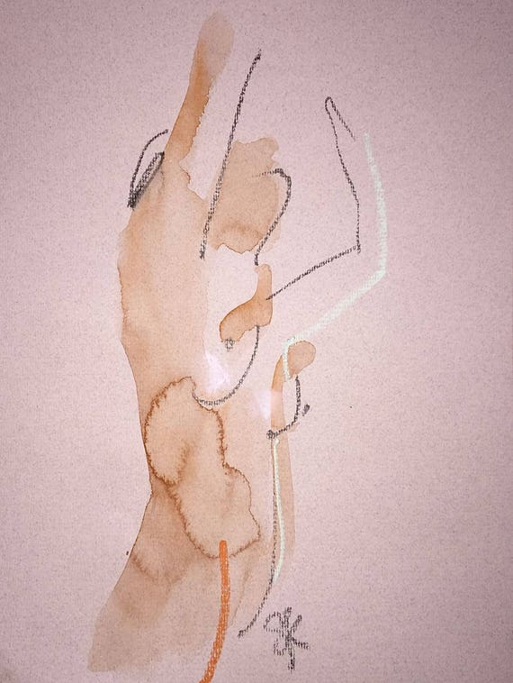 Nude painting of One minute pose 107.1 Original painting by Gretchen Kelly