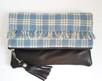UPCYCLED Foldover Clutch. Fall Bag. Grunge. Plaid Bag. Leather Clutch. Black Leather. Recycled Leather. Tassel. Ready To Ship.
