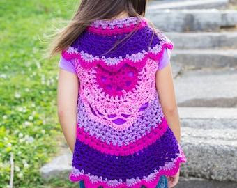 Girls crochet sweater - Mandala sweater - infant sweater- summer sweater - circle sweater - baby sweater - toddler sweater-  - crochet shrug
