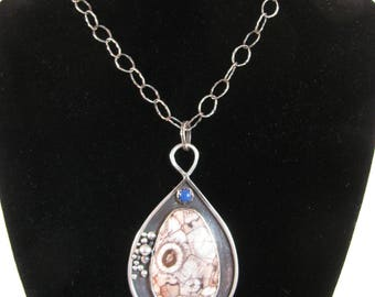 Sterling Silver Bird's Eye Rhyolite Pendant with Chain RKS582