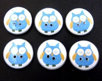 """6 Owl buttons.  Blue Owl handmade buttons. Sewing Buttons.  3/4"""" = 20 mm."""